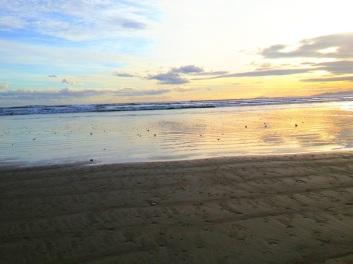 Beautiful sunset at Oreti beach