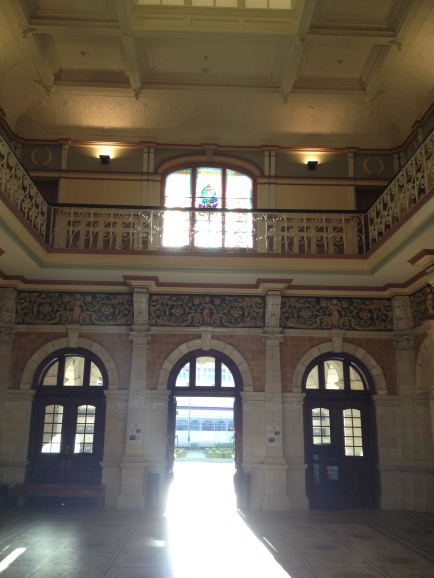 Inside the train station ticket office