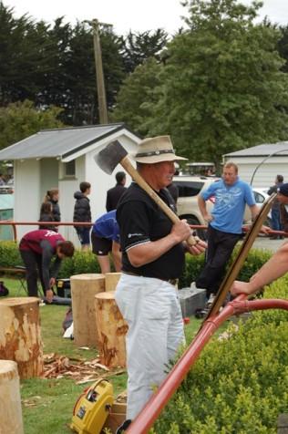 Wood chopping demo