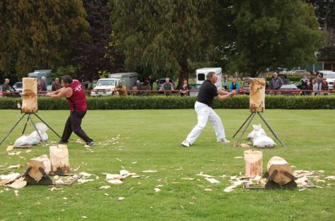Wood chopping demo