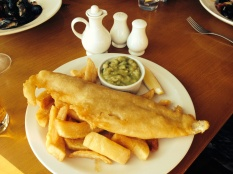 proper UK fish, chips and mushy peas