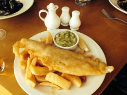 proper UK fish, chips and mushy peas