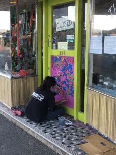 Riverton street art in progress