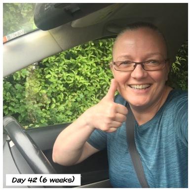 6 weeks, alowed to drive